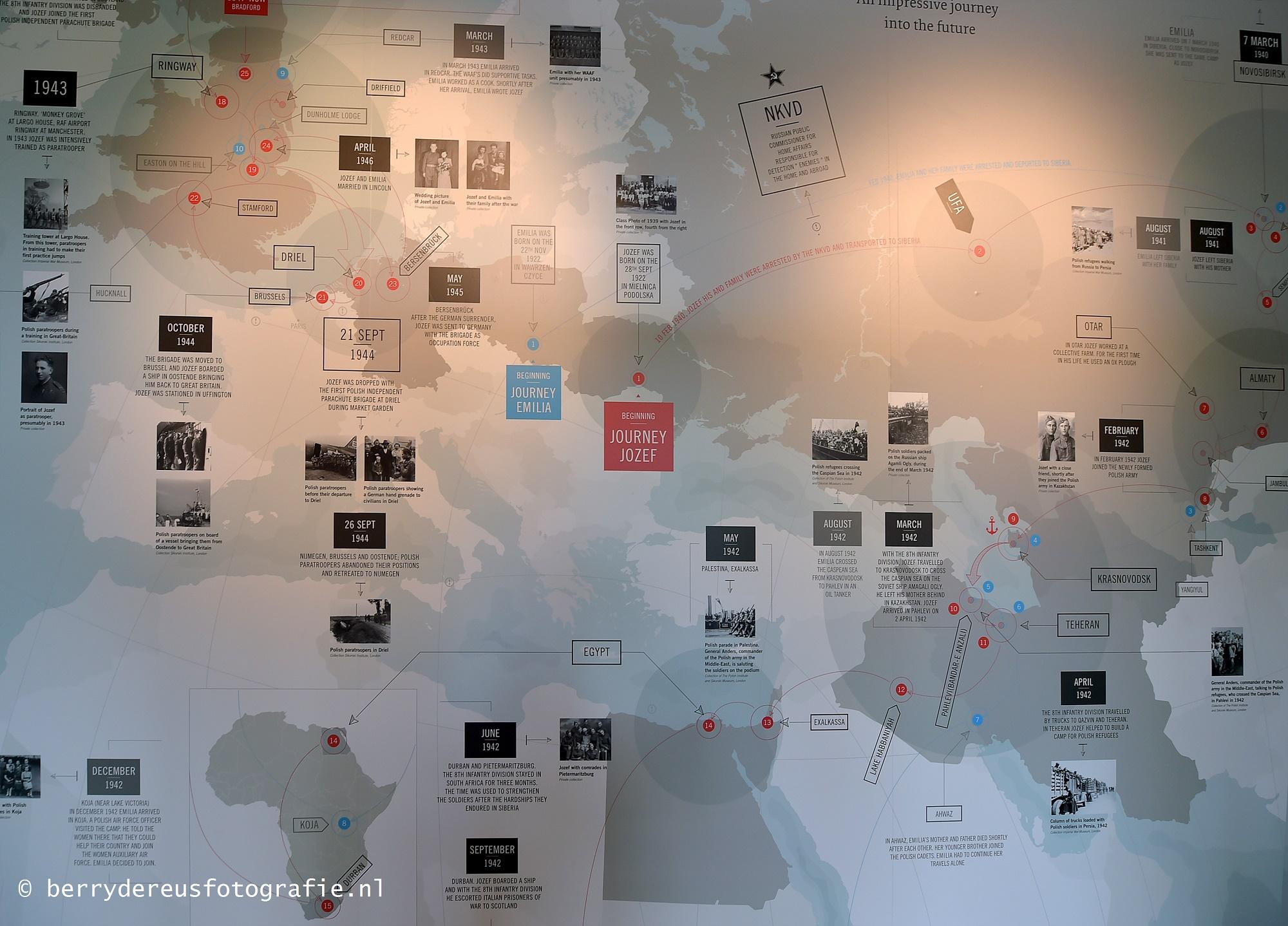 Kaart 'Going Home' in het Airborne Museum 'Hartenstein' te Oosterbeek.