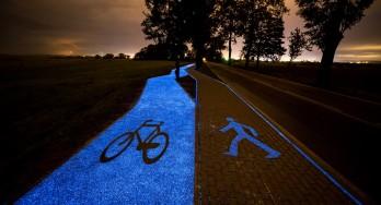 Oplichtend fietspad in Lidzbark Warmiński