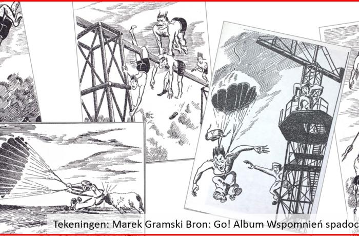 Cartoons van Poolse parachutisten in training in Schotland