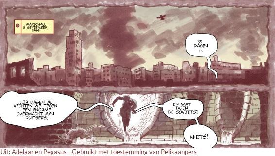 Uitsnede uit 'Adelaar en Pegasus'een graphic novel over de Slag om Arnhem van Pelikaanpers.
