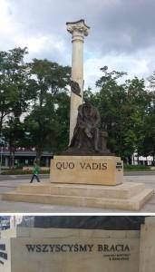 Monument voor Sienkiewicz in Kielce me op achterzijde tekst (in Pools) 'We zijn alle broeders'.