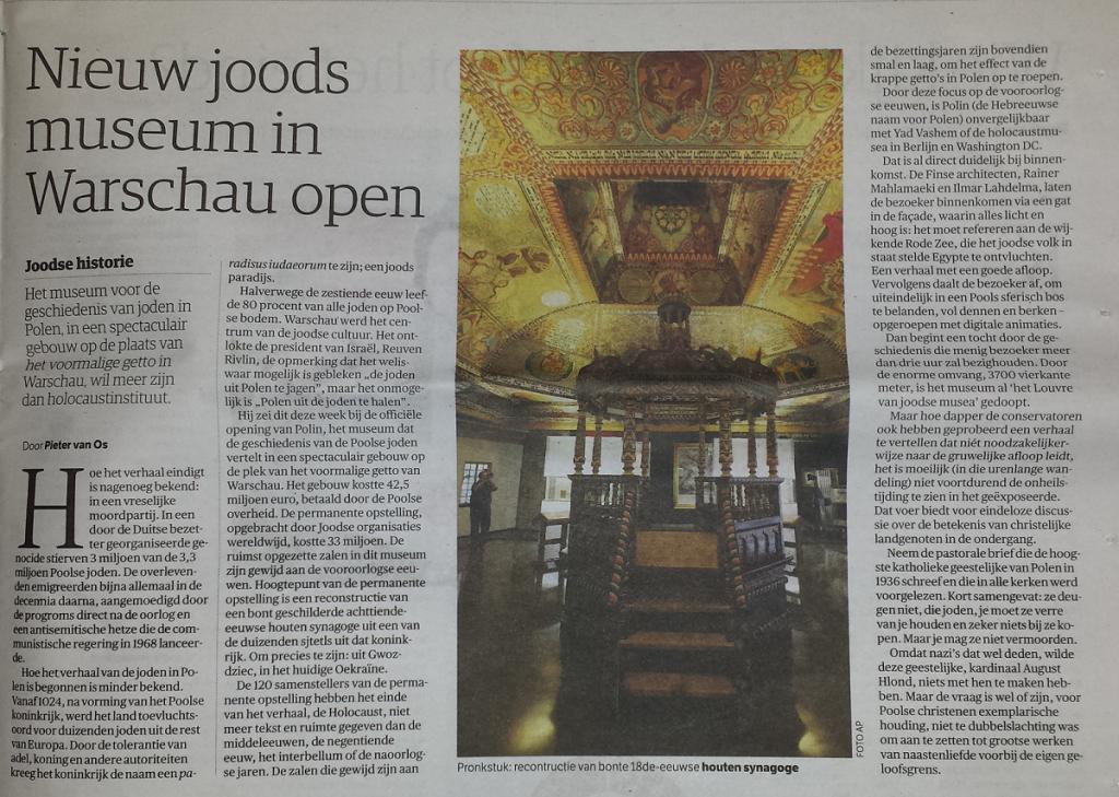 Artikel in NRC van 1-11-2014 over nieuw geopende museum