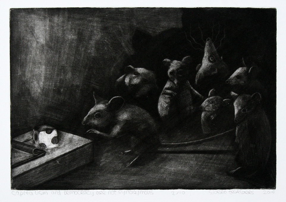 Capitalism and democracy are not synonymous. 15x22 cm, mezzotint, 2015