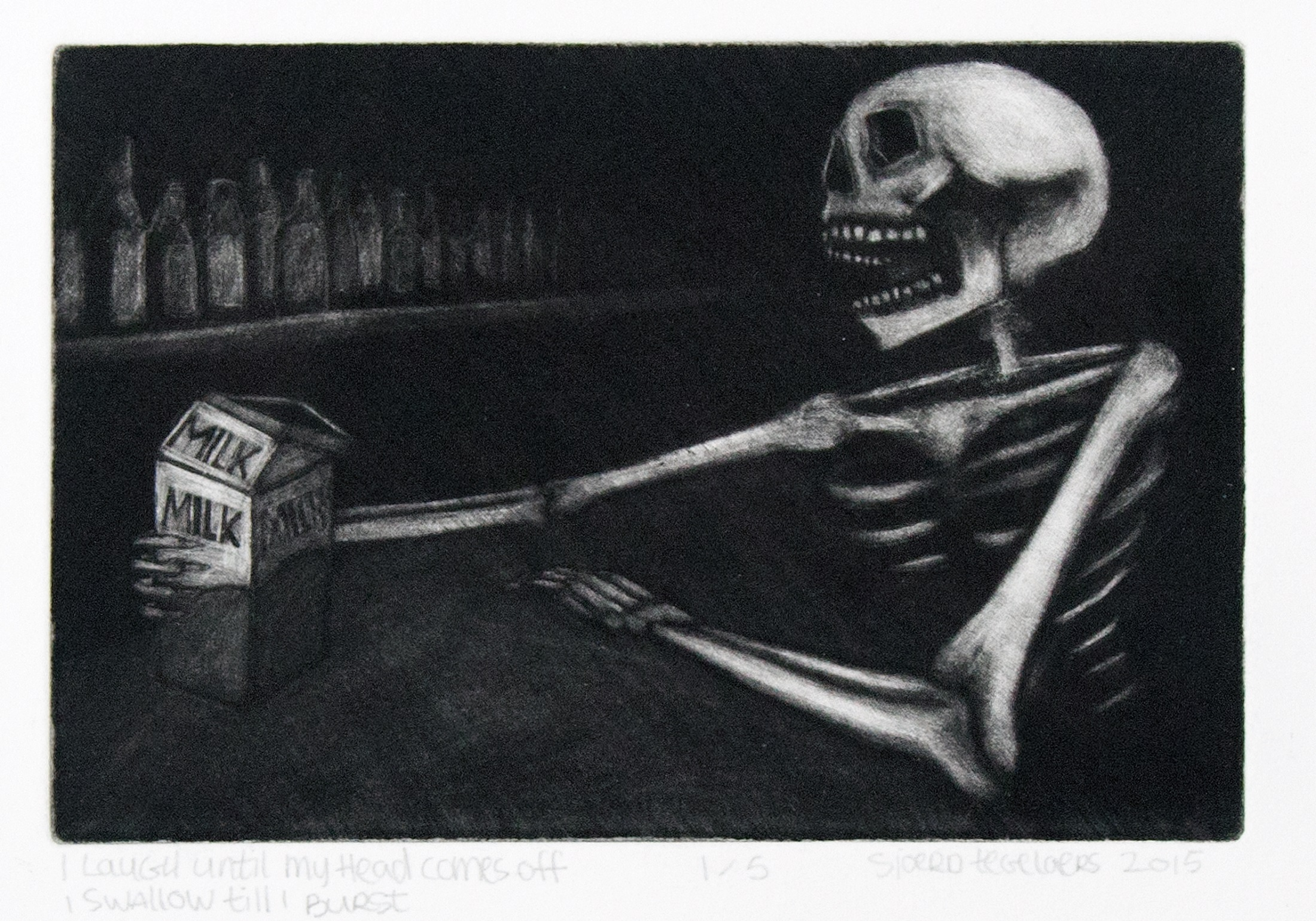 I laugh until my heads comes off, I swallow till I burst, a5 sized mezzotint, 10 prints, 2015