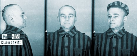 de foto van Pilecki die bij aankomst in Auschwitz, september 1940, van hem werd gemaakt (Collectie Staatsmuseum Auschwitz-Birkenau)