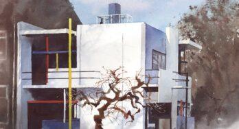 Rietveld Schröderhuis in aquarel – Rafał Rudko